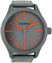Oozoo XXL Herrenuhr C6720 grau-fluo orange