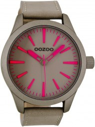 Oozoo XXL Damenuhr C7031 taupe-fluo pink 46 mm - Lederband