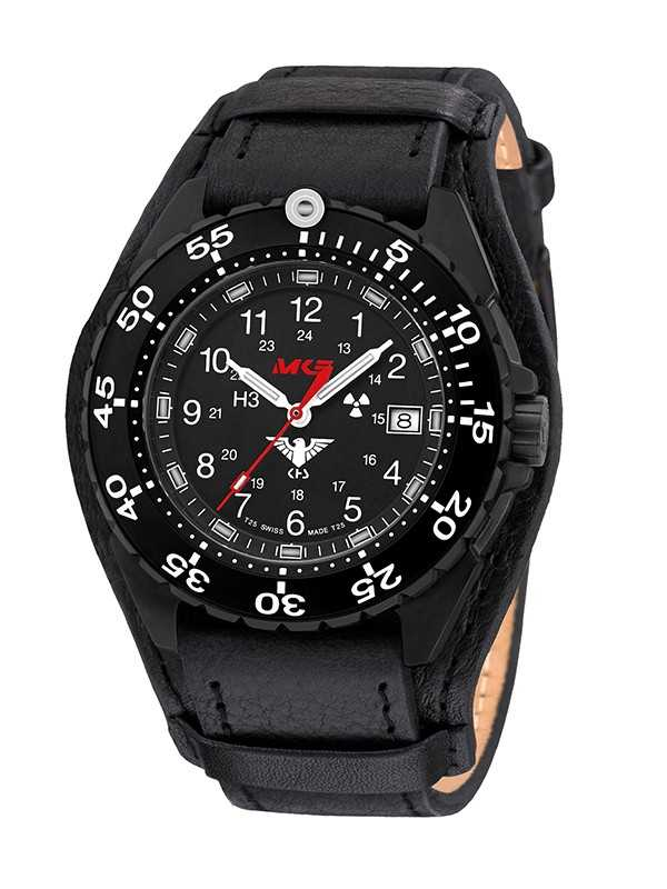 KHS Enforcer Black Steel Einsatzuhr KHS.ENFBS.R - Lederband - 46 mm