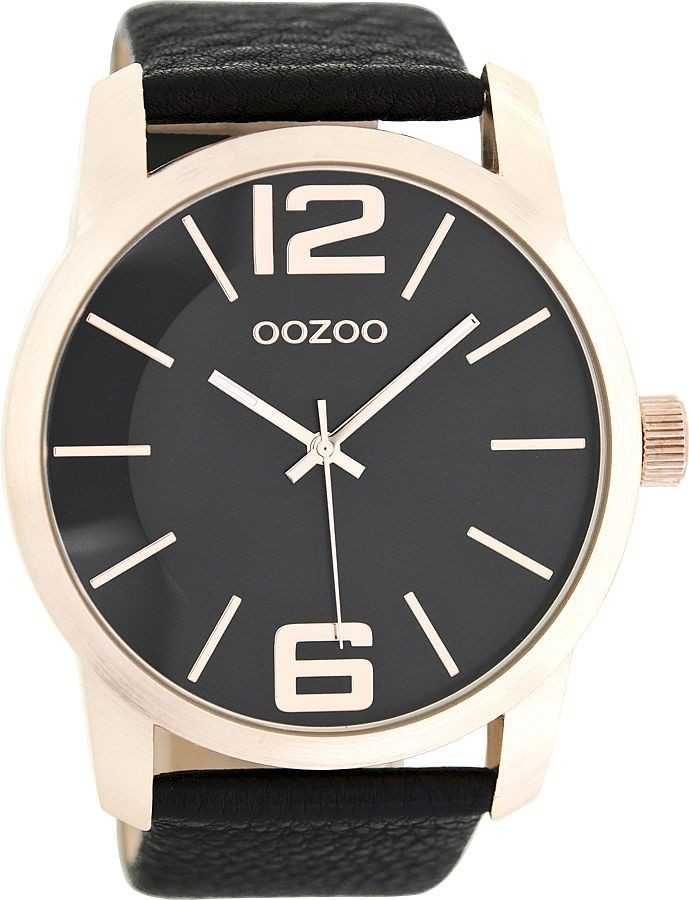 Oozoo XXL Herrenuhr C8039 - schwarz/rose - 48 mm - Lederband