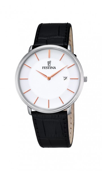 Festina Klassik Herrenuhr F6839-3 - Ultra Slim - Lederband - 40 mm