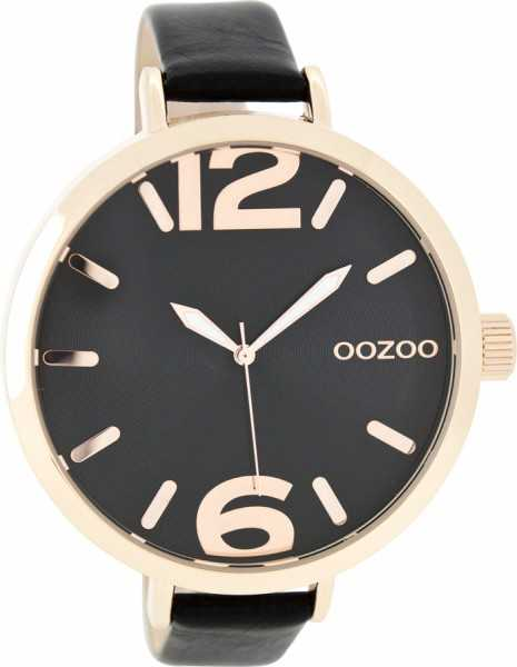 Oozoo XXL Damenuhr C7964 - schwarz/rose - 48 mm - Lederband