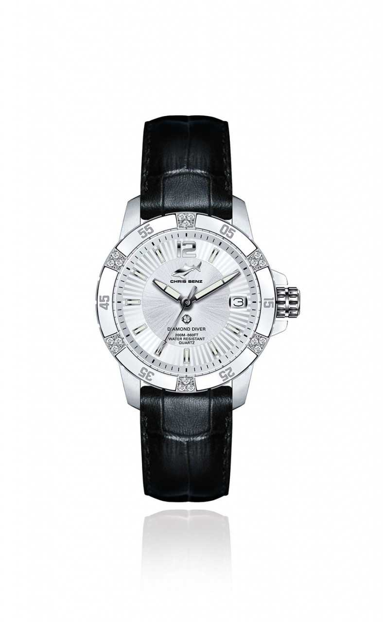 Chris Benz Diamonds Diver Taucheruhr CB-DD200-SI-LBS - Lederband - 35,15 mm