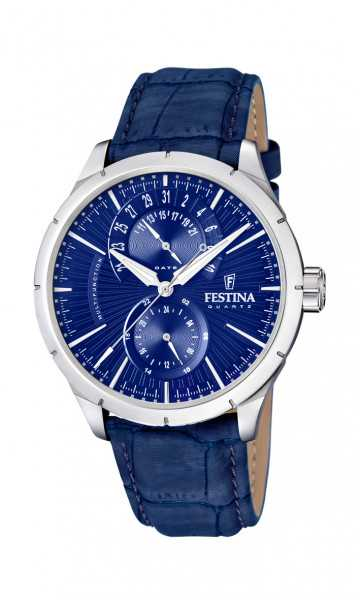 Festina Klassik Retro Herrenuhr F16573-7 - Lederband - 46 mm