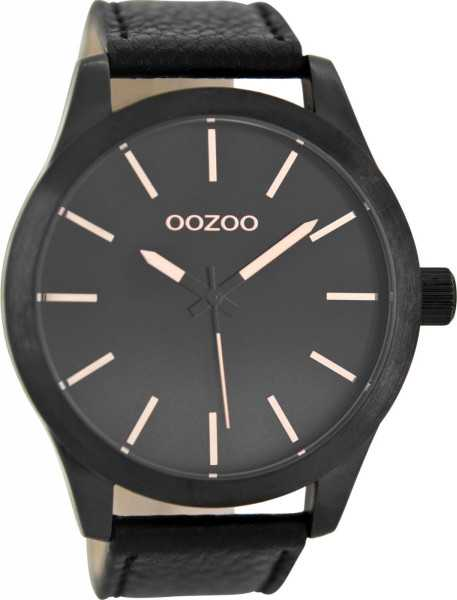 Oozoo XXL Herrenuhr C8558 - schwarz-rose - Lederband - 48 mm