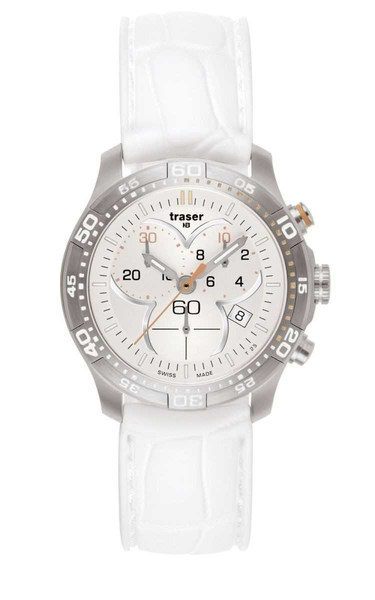 Traser H3 T7392 Ladytime Silver Chronograph - 100353 - Silikonband - 37 mm
