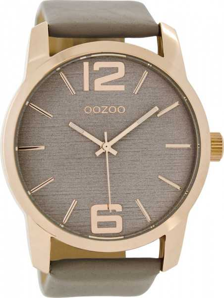 Oozoo XXL Herrenuhr C9086 - rose-taupe - Lederband - 48 mm