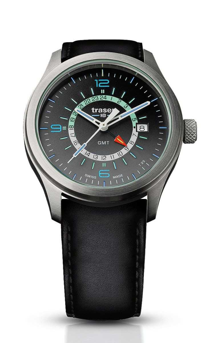 Traser H3 P59 Aurora GMT Anthracite Herrenuhr 107231 - Lederband - 42 mm