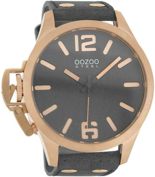 Oozoo Steel OS0257 XXL Herrenuhr grau/rose