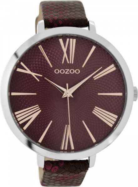 Oozoo XXL Damenuhr C9171 - silberfarben-bordeaux - Lederband - 48 mm