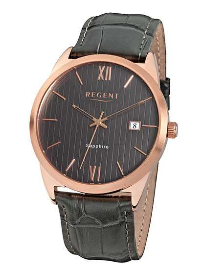 Regent UM1410 Herrenuhr - rose/grau - Lederband - 44 mm