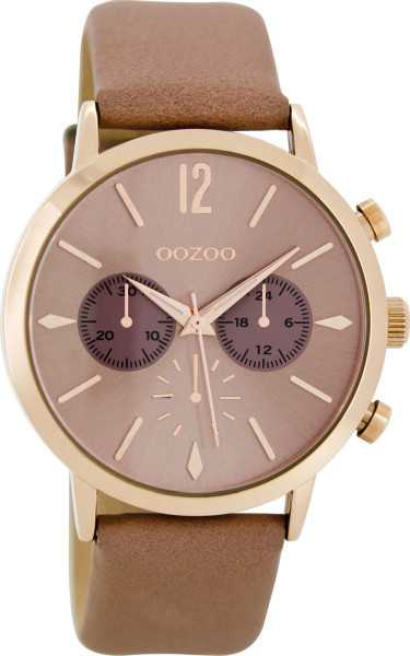 Oozoo Uhr C8521 - rosagrau-rose - Lederband - 40 mm