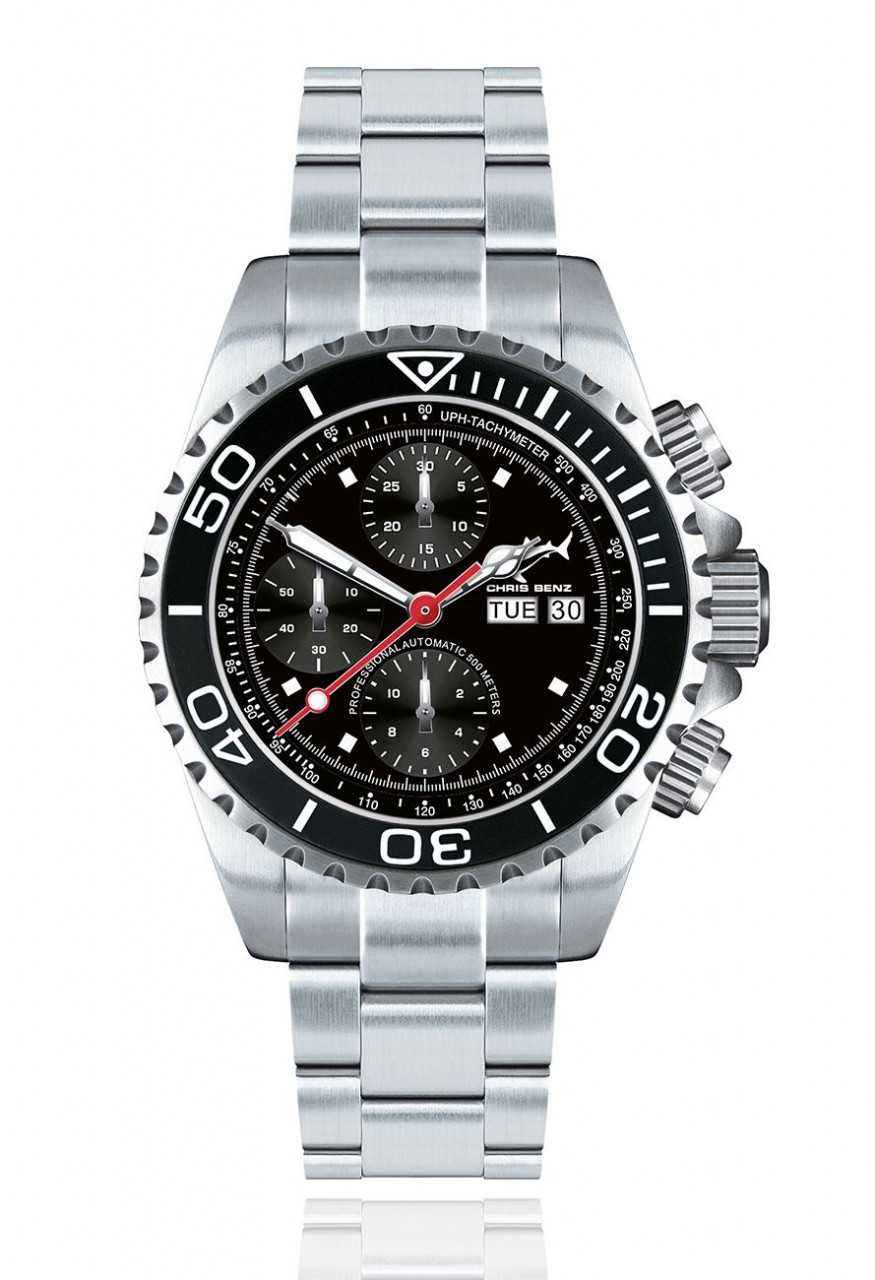 Chris Benz Deep 500M Automatic Chronograph CB-500A-C1-MB - Edelstahlband - 47 mm