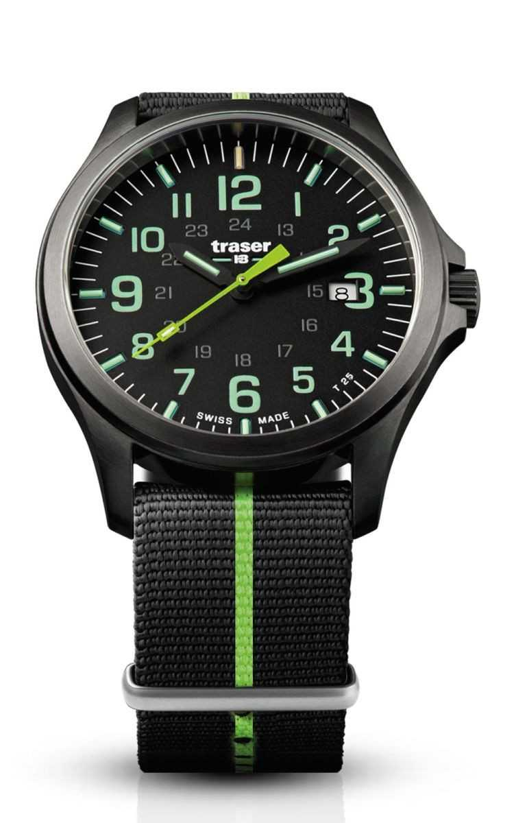 Traser H3 P67 Officer Pro GunMetal  Black/Lime Herrenuhr 107426 - Natoband - 42 mm