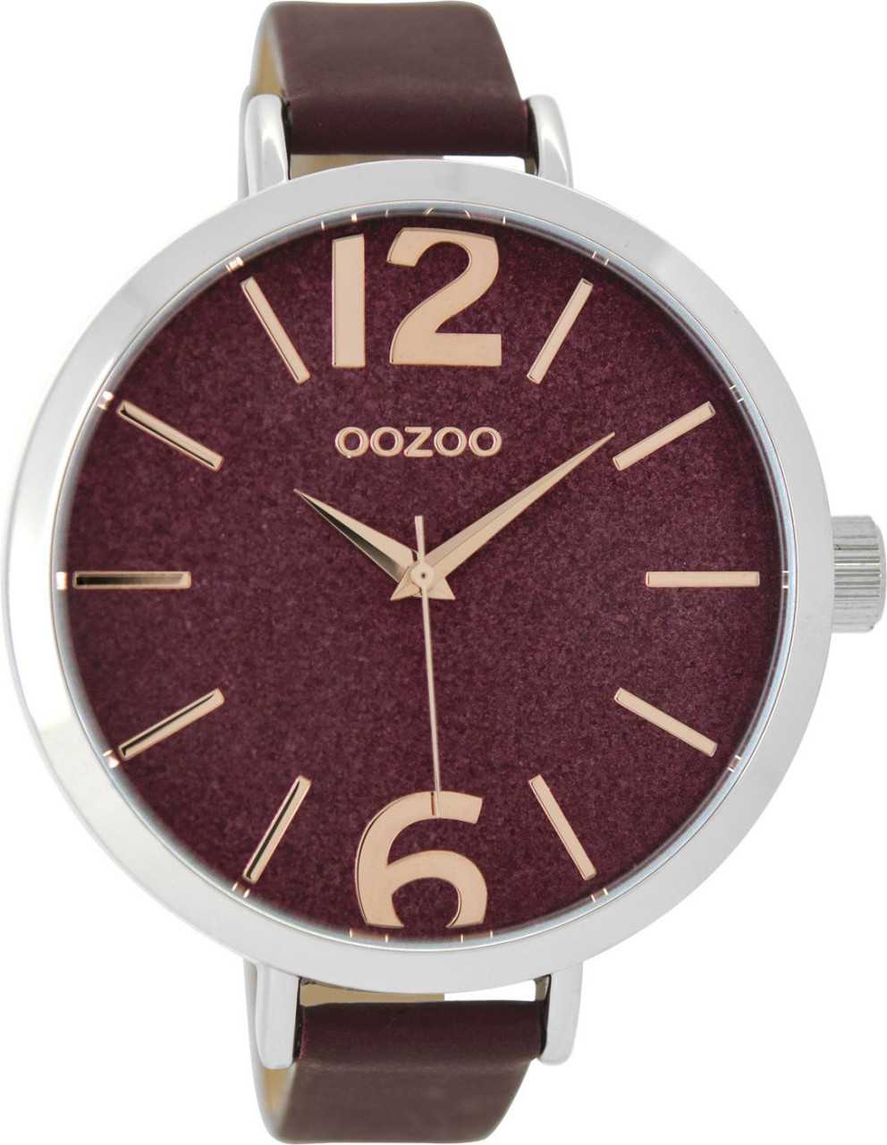 Oozoo XXL Damenuhr C9193 - silberfarben-bordeaux - Lederband - 48 mm