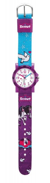 Scout The IT-Collection Mädchenuhr 375008 mit Pferde-Motiv - Textilband - 30 mm
