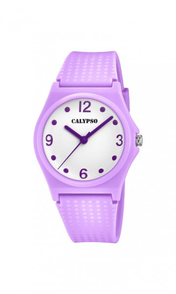 Calypso Sweet Time Damenuhr K5743-2 weiss lila PU-Band 35 mm
