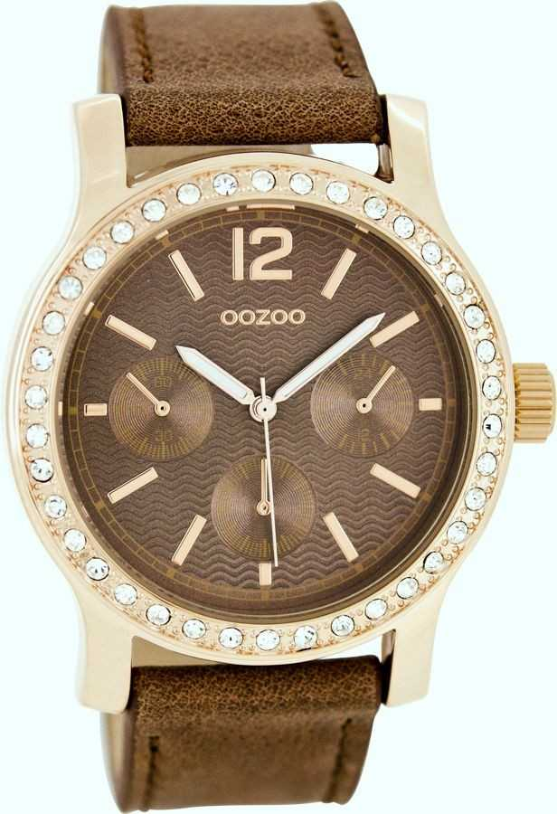 Oozoo Damenuhr C7933 - braun/rose - 43 mm - Lederband