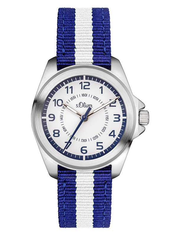s.Oliver Kid´s Armbanduhr SO-3401-LQ blau/weiss - Textilband - 32 mm