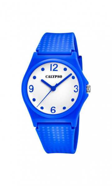 Calypso Sweet Time Damenuhr K5743-5 blau weiss PU-Band 35 mm