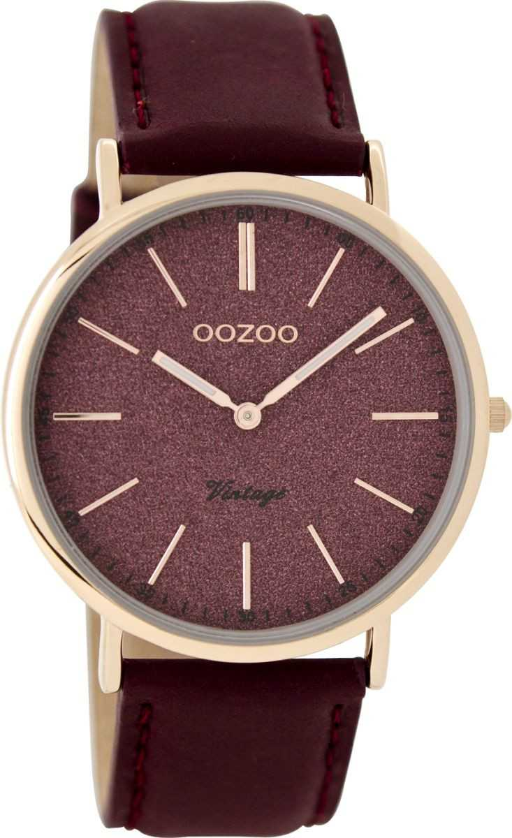 Oozoo Slim Vintage Damenuhr C8197 - rose-bordeaux - Lederband - 40 mm