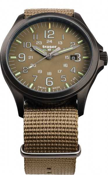 Traser H3 P67 Officer Pro GunMetal Khaki Herrenuhr 108631 Natoband 42 mm