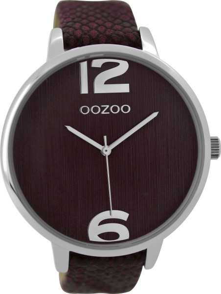 Oozoo XXL Damenuhr C9241 - silberfarben-bordeaux- Lederband - 48 mm