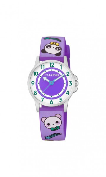 Calypso Kinderuhr K5775-2 lila/Teddy PU-Band 27 mm