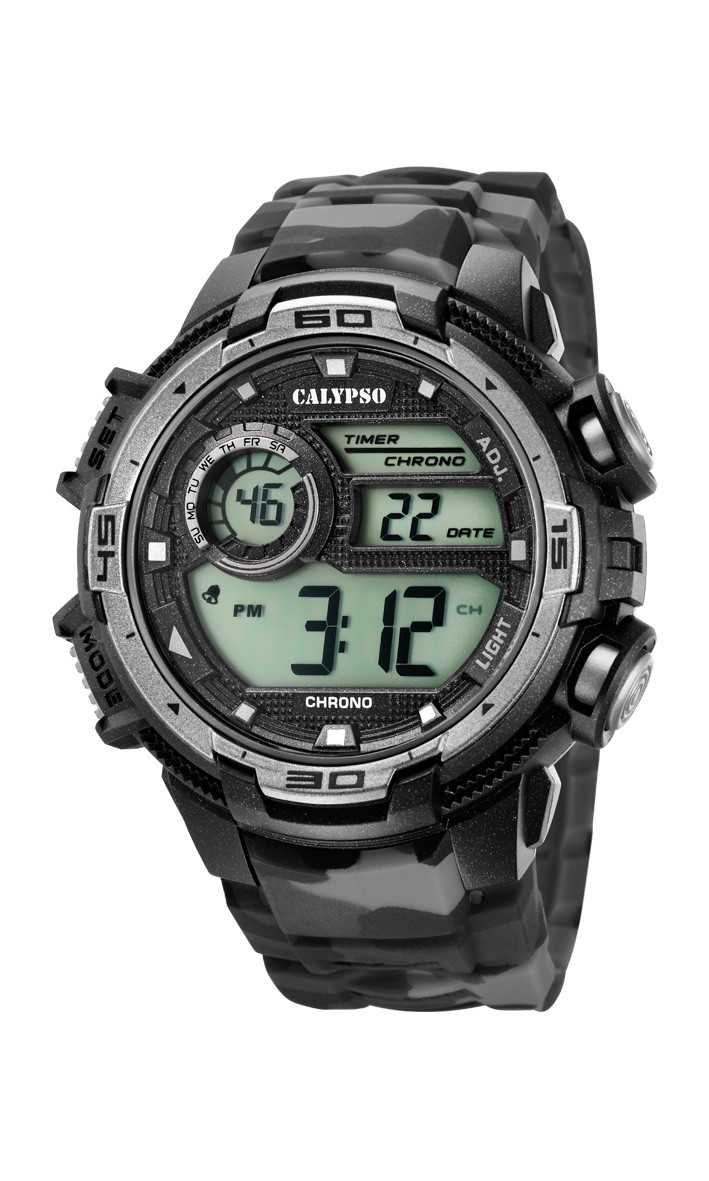 Calypso Herrenuhr Digital K5723-3 - camouflage/grau/schwarz - PU-Band - 48 mm