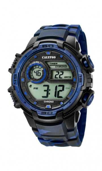 Calypso Herrenuhr Digital K5723-1 - camouflage/blau/schwarz - PU-Band - 48 mm