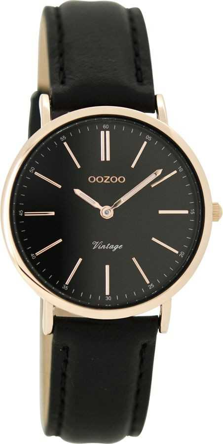 Oozoo New Vintage Damenuhr C8824 - rose-schwarz - Lederband - 32 mm