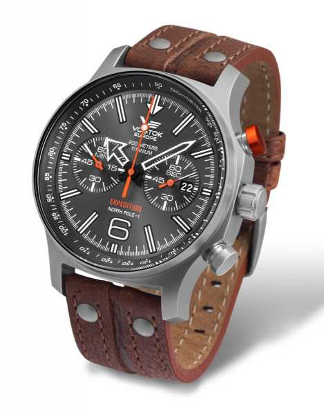 Vostok Europe Expedition Nordpol 1 Chronograph Titan 595H298-L - Lederband - 47 mm