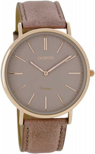 Oozoo Ultra Slim Vintage C7332 - rosagrau-rose - 40 mm - Lederband
