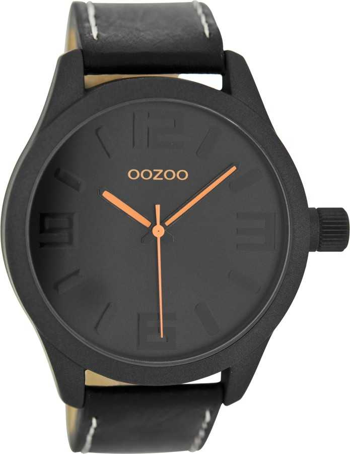 Oozoo XXL Damenuhr C7888 - schwarz/fluo-orange - 46 mm - Lederband