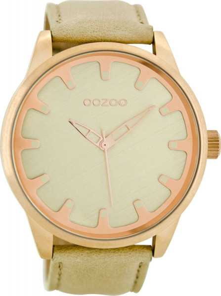 Oozoo XXL Herrenuhr C8545 - rose/sand/goldfarben - Lederband - 48 mm