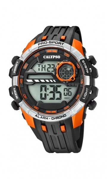 Calypso Herrenuhr Digital K5729-2 - schwarz-orange-silberfarben - PU-Band - 47 mm