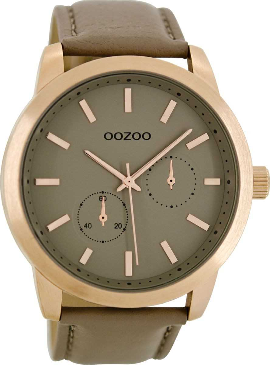 Oozoo Herrenuhr C8577 - rose/taupe - Lederband - 47 mm
