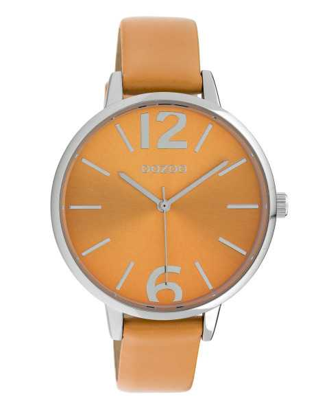 Oozoo Damenuhr C10155 silberfarben/orange Lederband 40 mm