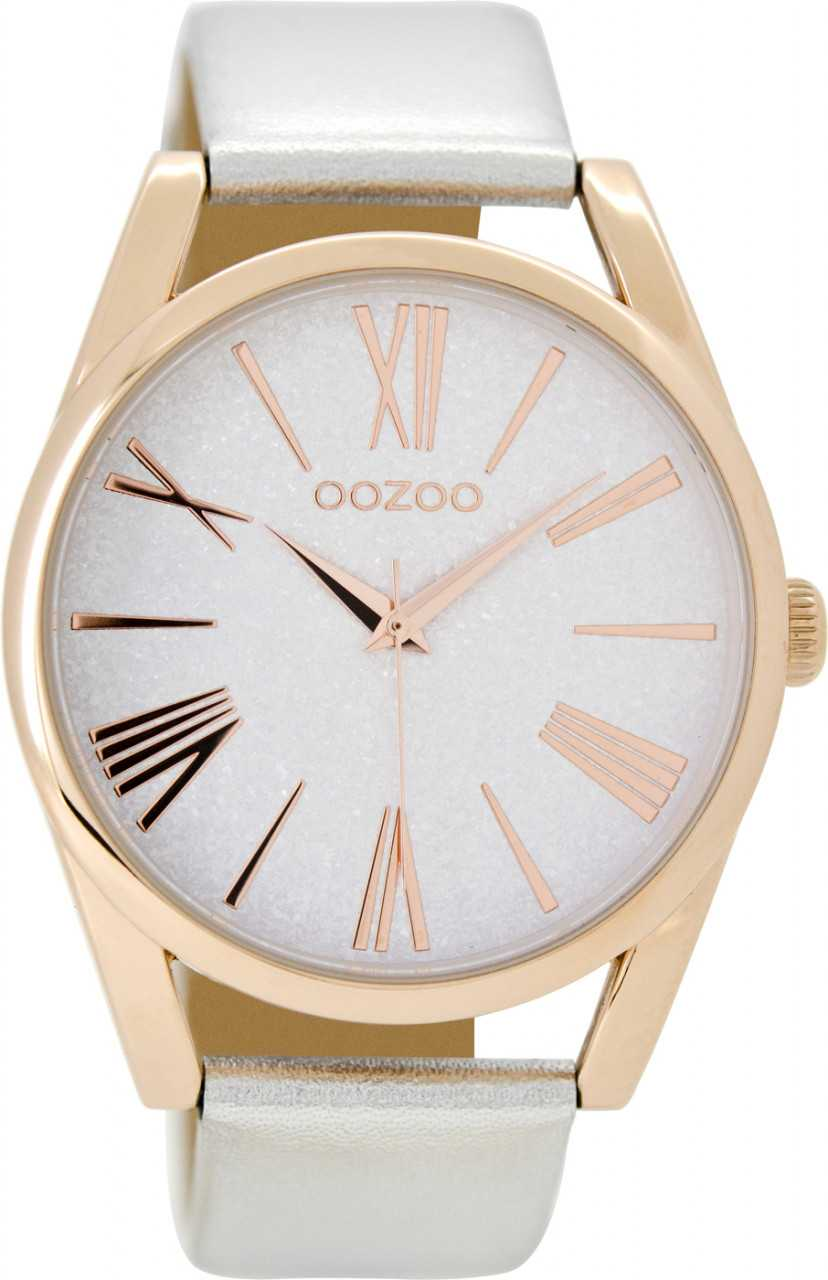 Oozoo Damenuhr C8912 - rose-silberfarben - Lederband - 40 mm