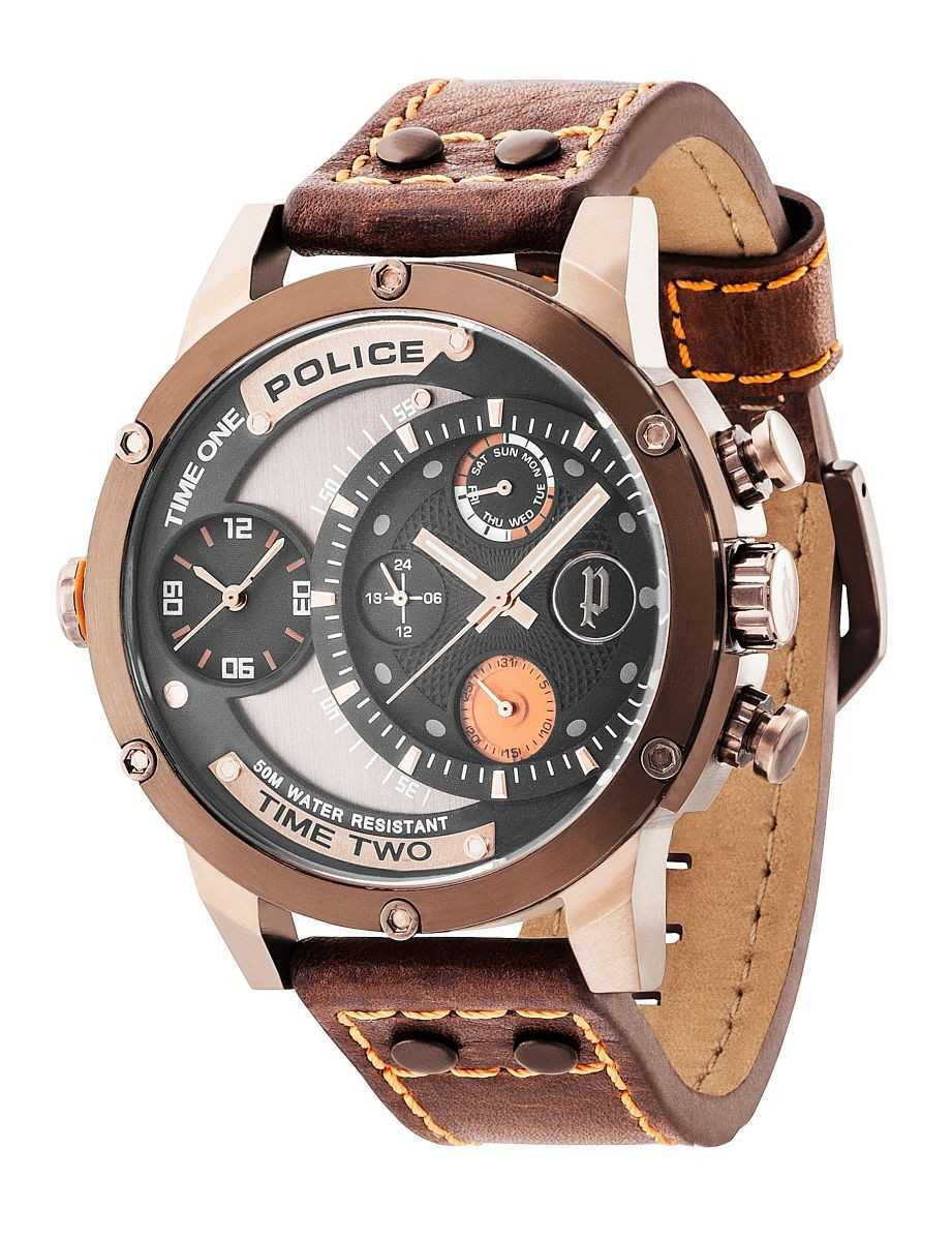 Police Adder XXL Herrenuhr PL14536JSBN-02 - Lederband - 50 mm