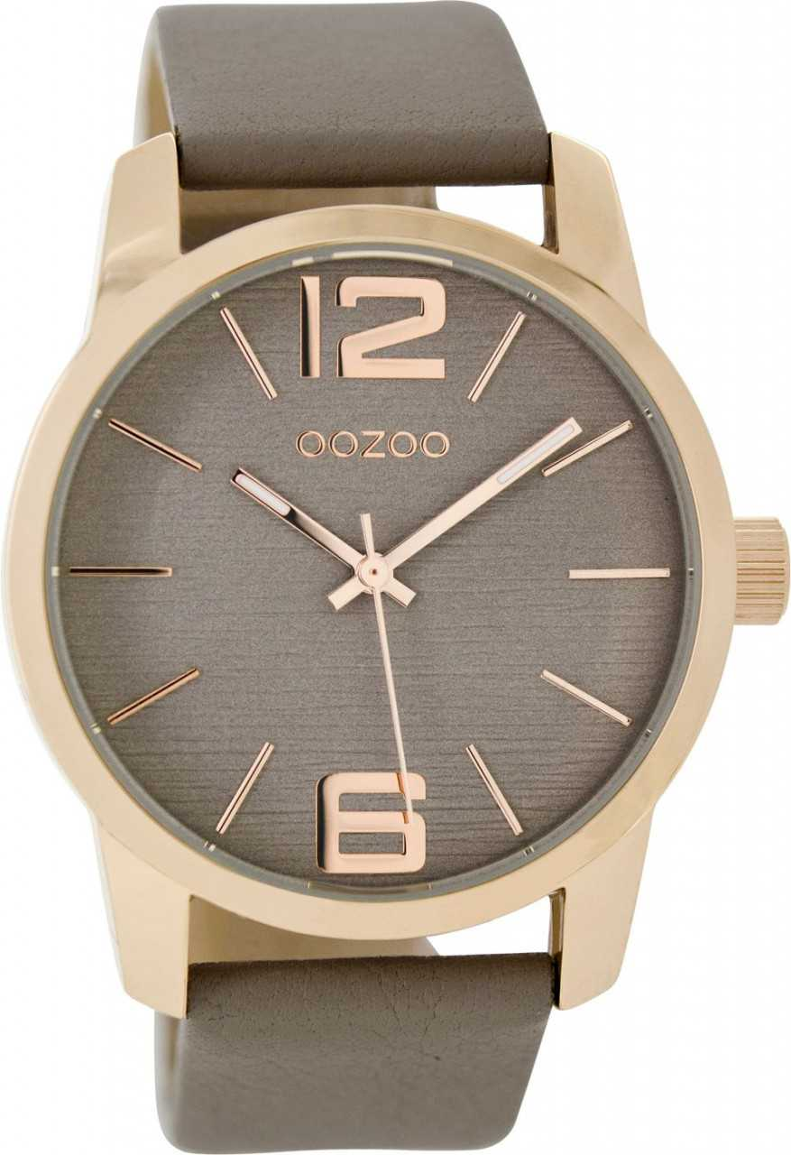 Oozoo XXL Damenuhr C9091 - rose-taupe - Lederband - 43 mm