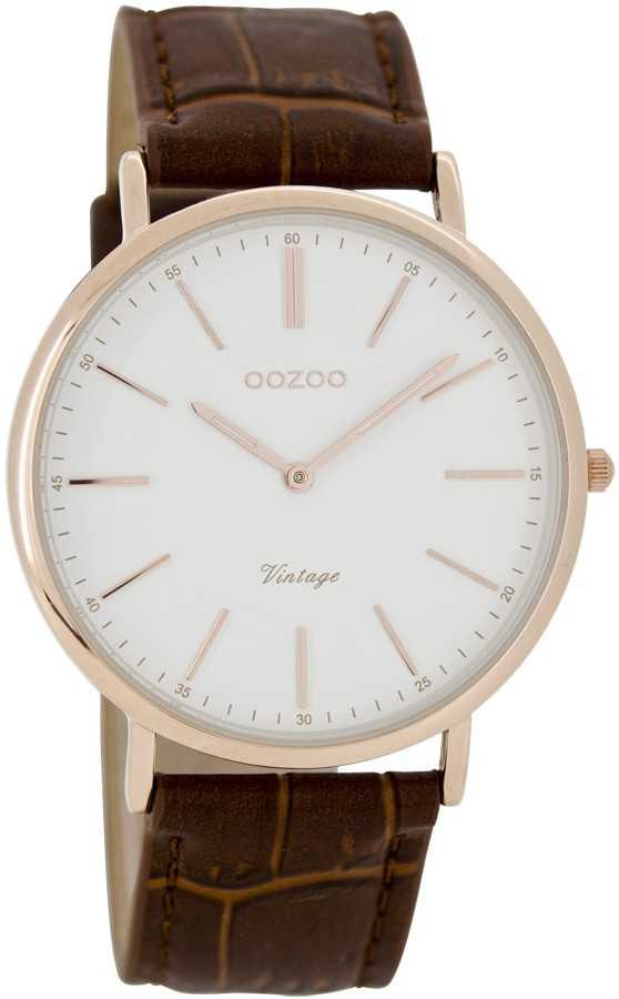 Oozoo Ultra Slim Vintage C7335 - rose-weiss-braun - 40 mm - Lederband