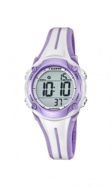 Calypso Damen/Kinder Digitaluhr K5682-7 - weiß-lila - PU-Band - 34 mm