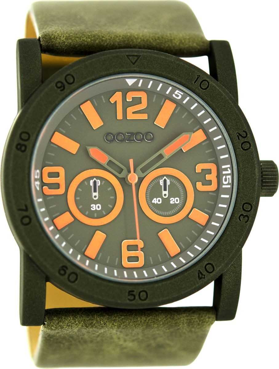 Oozoo Herrenuhr C8307 - dunkelgrün/orange - Lederband - 47 mm