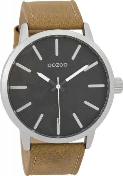 Oozoo Herrenuhr C9600 silberfarben anthrazit braun Lederband 45 mm