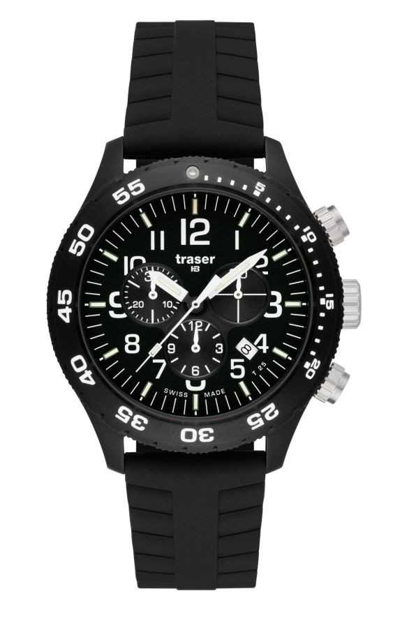 Traser H3 P6704 Officer Chrono Pro Herrenuhr - 102370 - Silikonband - 46 mm