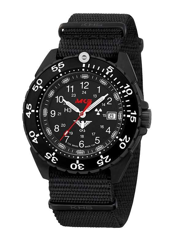 KHS Enforcer Black Steel Einsatzuhr KHS.ENFBS.NB - Natoband - 46 mm