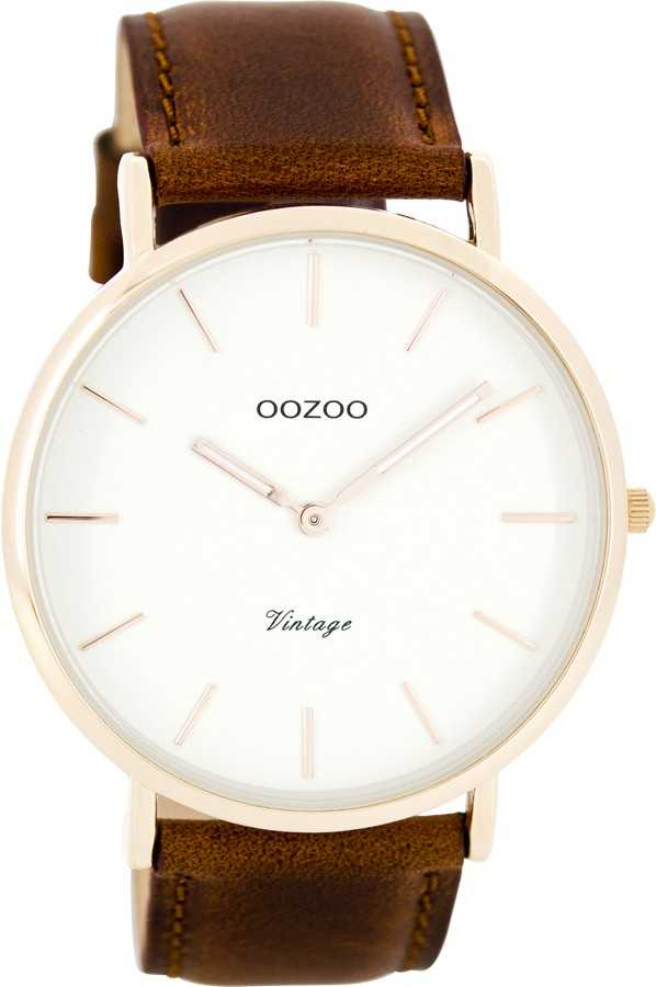 Oozoo Ultra Slim Vintage Herrenuhr C7756 - braun/weiss/rose - 44 mm - Lederband