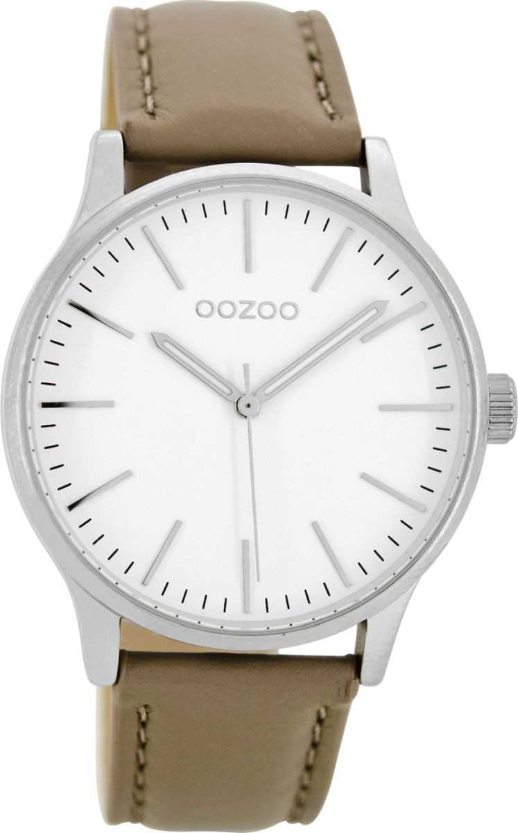 Oozoo Uhr C8542 - taupe/weiss/silberfarben - Lederband - 40 mm