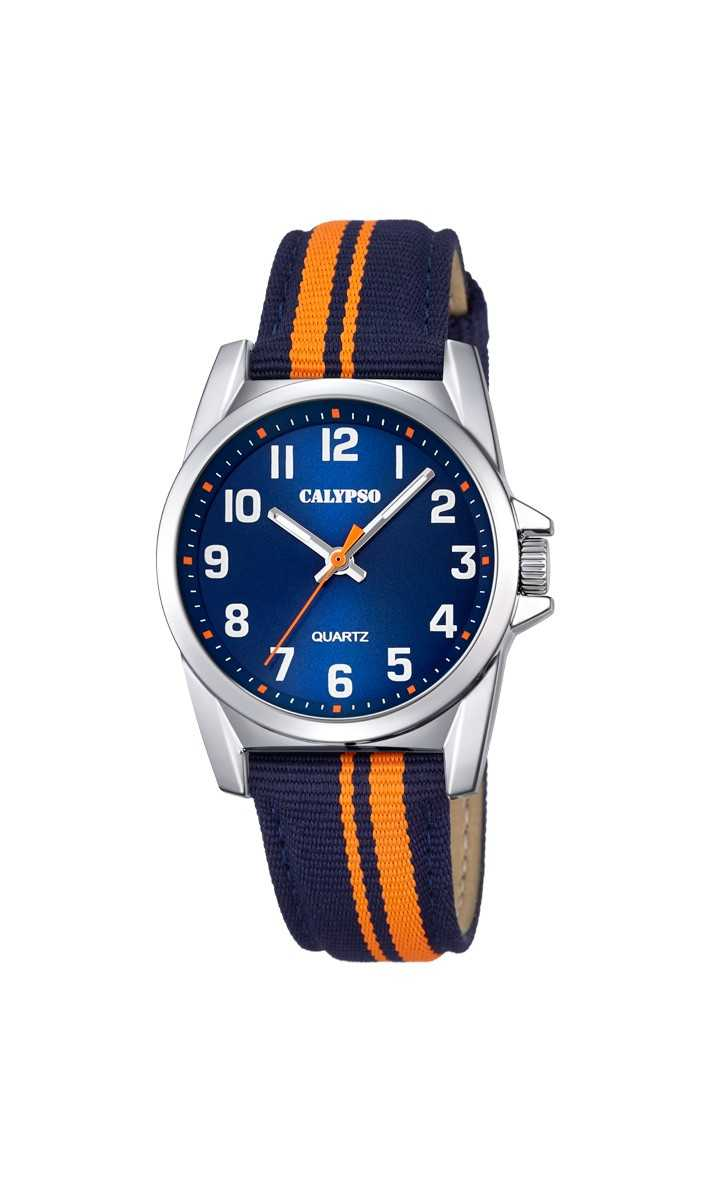 Calypso Kinderuhr K5707-4 - blau/orange - 32 mm - Textilband